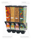 Slimline Dry Food and Candy Dispenser - Server 88780 Dry Product Dispenser, Quadruple, (4) 2 Liter, Wall Mount