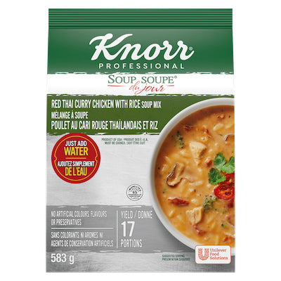 Red Thai Curry Chicken with Rice - Knorr Professional Soup Du Jour Mix  4 x 583 gr