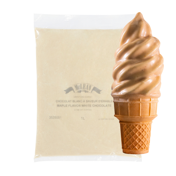 Maple Flavor White Chocolate Cone Dip Coating 1L Bag