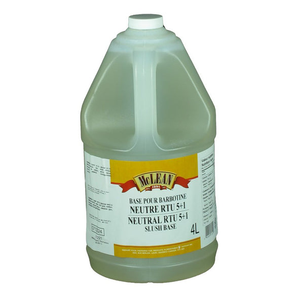 Neutral Slush Syrup Base – RTU 5+1 – 2x4L - Mclean Canada