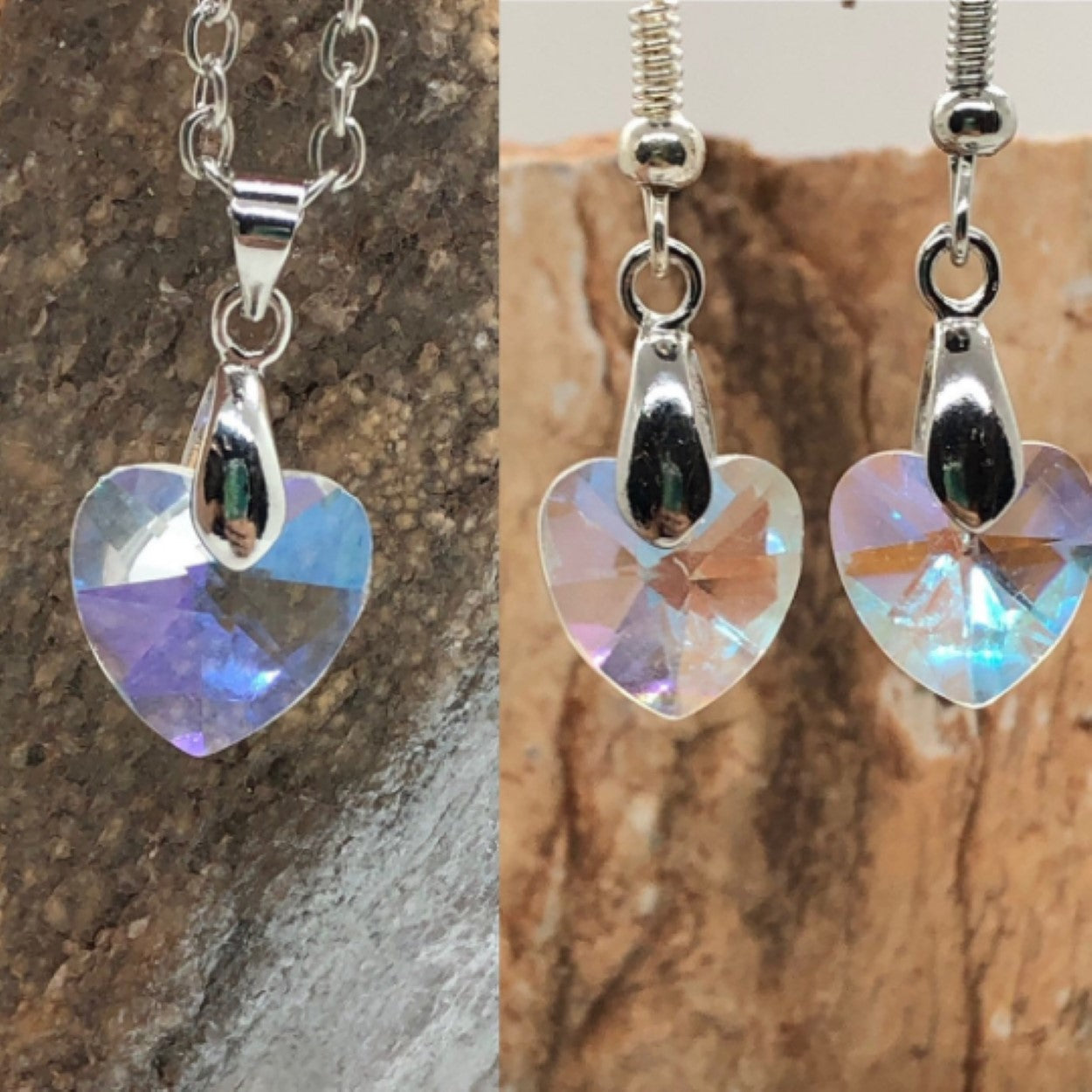 Crystal Heart Pendant Earring Set