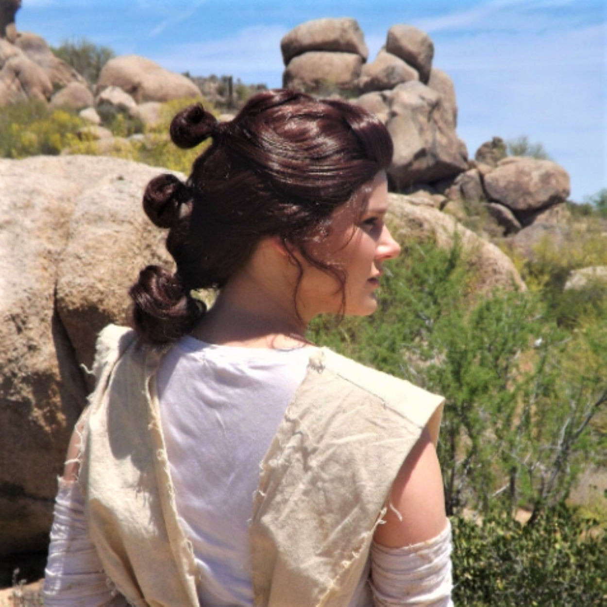 Rey Inspired Awake Brown Rebel Buns Wig