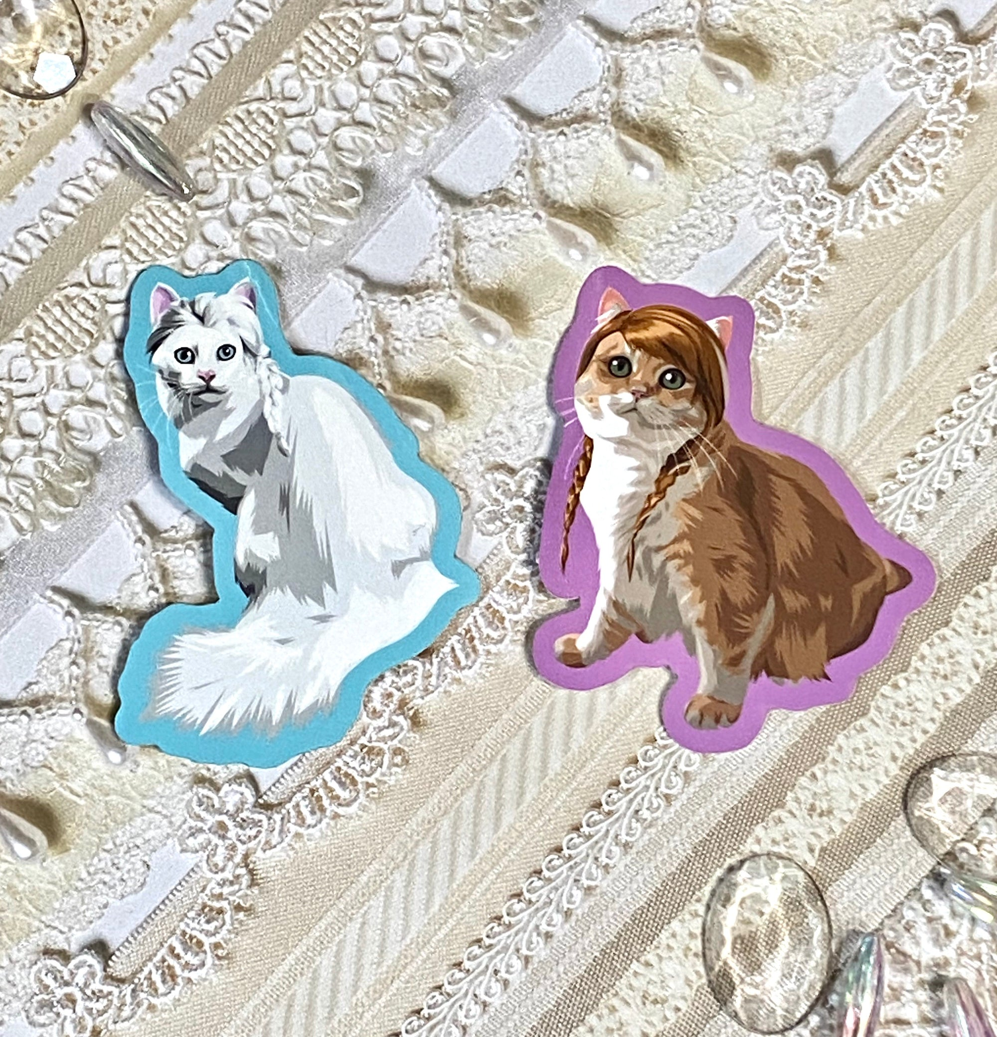 Frozen Sisters Cat Kitty Stickers - Royal Enchantments