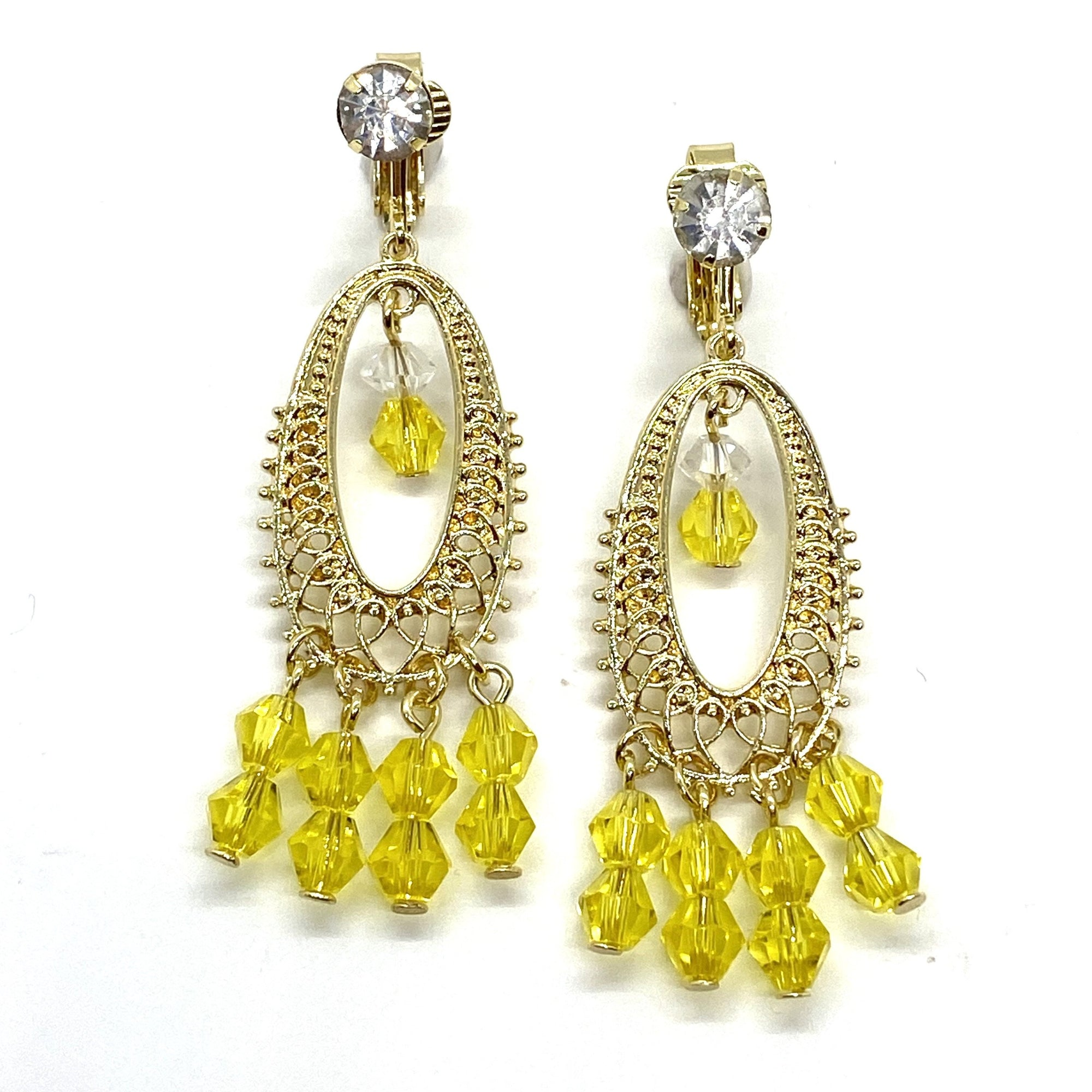 Belle Dangle Gold Crystal Drop Earrings Beauty Beast