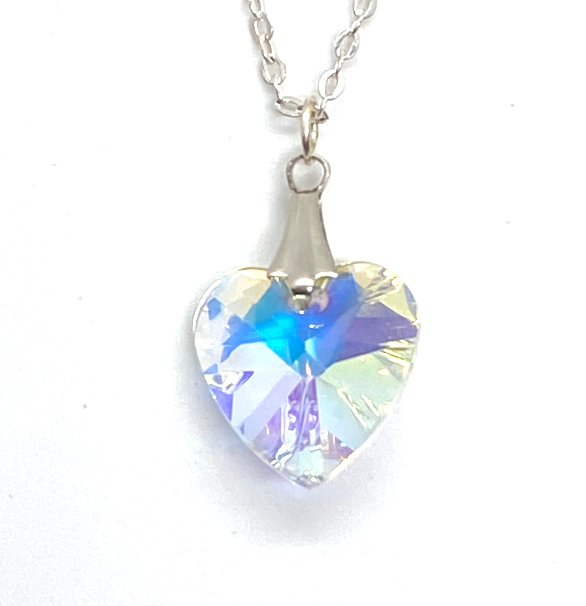 Crystal Heart Rhinestone Sterling Pendant - Royal Enchantments