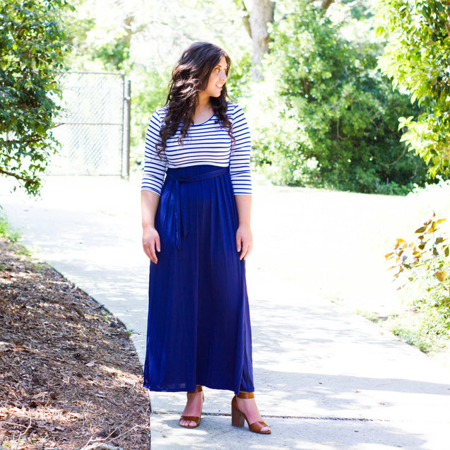 Pocketed Striped Maxi Dress