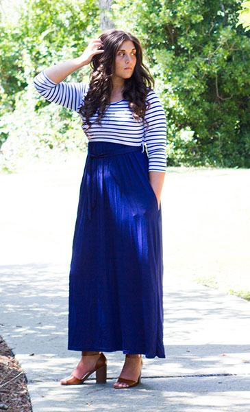 Dress - Pocketed Striped Maxi Dress