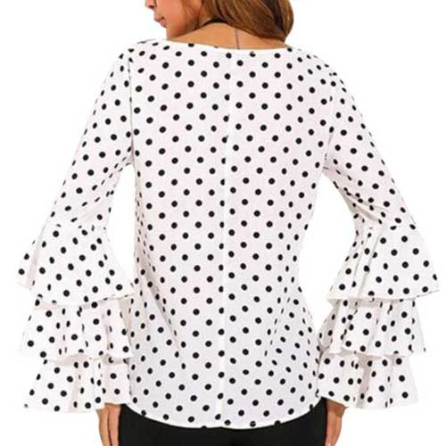 Ruffled Polka Dot Top |  | Tops | Modest Fashion