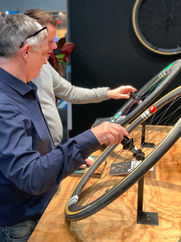 Bike Motion visitors having a look at the Ere Wheel range