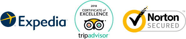 Expedia, tripadvisor 2018 Certificate of Excellence, Norton Secured