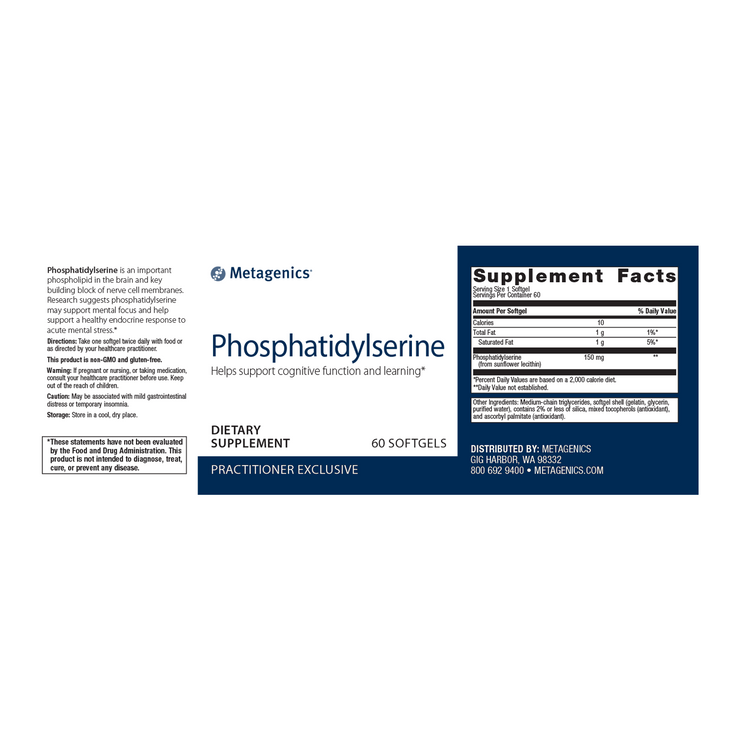 Phosphatidylserine <br>Helps support cognitive function and learning*