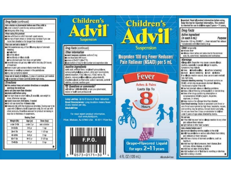 Advil Children's Oral Suspension Grape Flavored 4 oz.