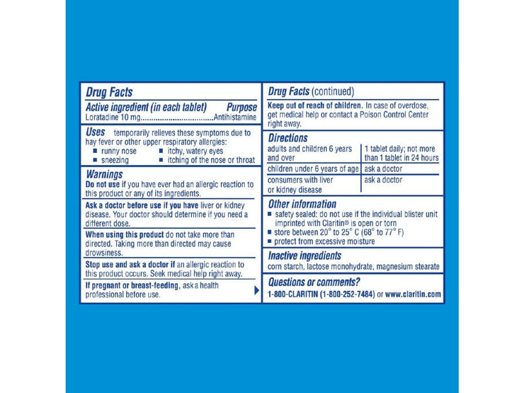 Claritin 24 Hour Non Drowsy Allergy Relief 10 Mg Tablets - 20 Count