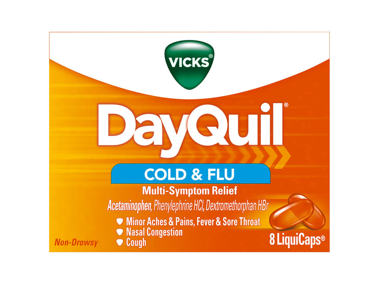 Vicks DayQuil Cold & Flu Multi-Symptom Relief LiquiCaps 8 Ct