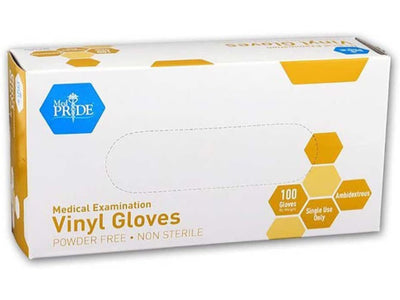 Large MedPride Powder-Free Vinyl Exam Gloves, 100 count