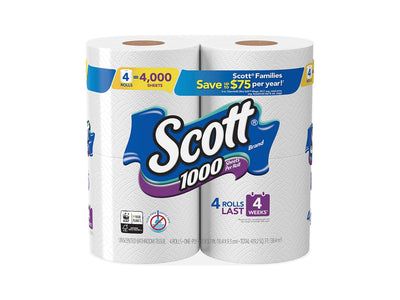 Scott 1000 Toilet Paper, 4 Rolls, 4,000 Sheets