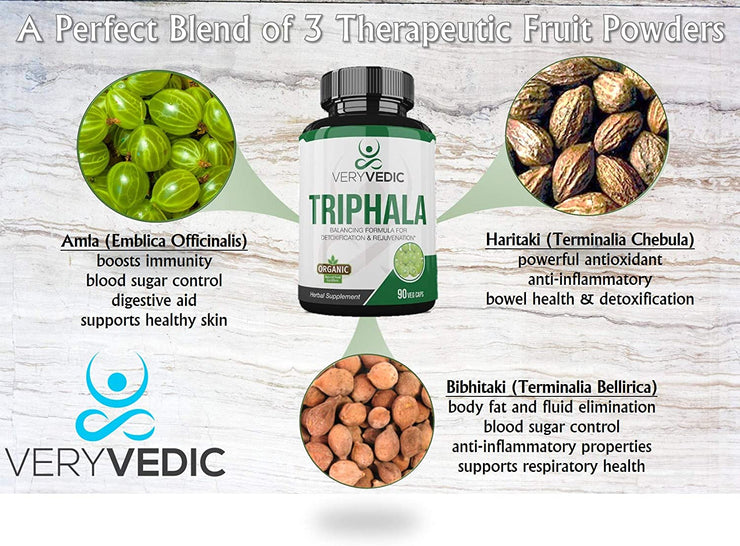 Organic Triphala Capsules Herbal Supplement (90 Veggie Capsules)