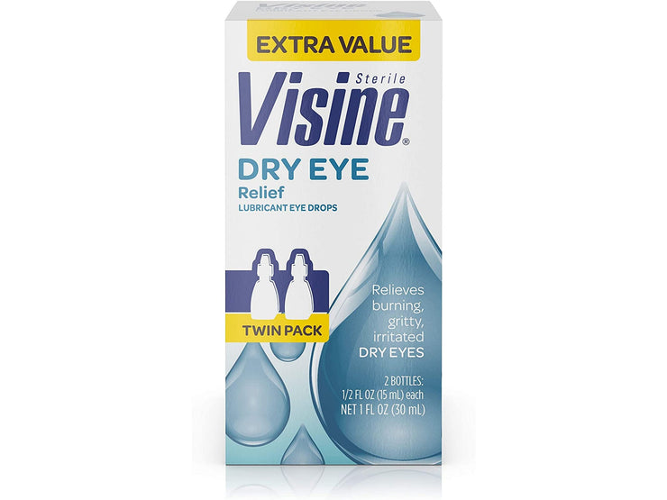 Visine Dry Eye Relief Lubricant Eye Drops 0.5 fl. oz (Pack of 2)