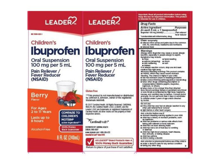Leader Children's Ibuprofen Liquid, Berry, 8oz