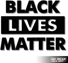 Load image into Gallery viewer, American Decal Depot | Black Lives Matter White Decal Vinyl Sticker | Cars Trucks Vans Walls Laptop| White | Free Tools