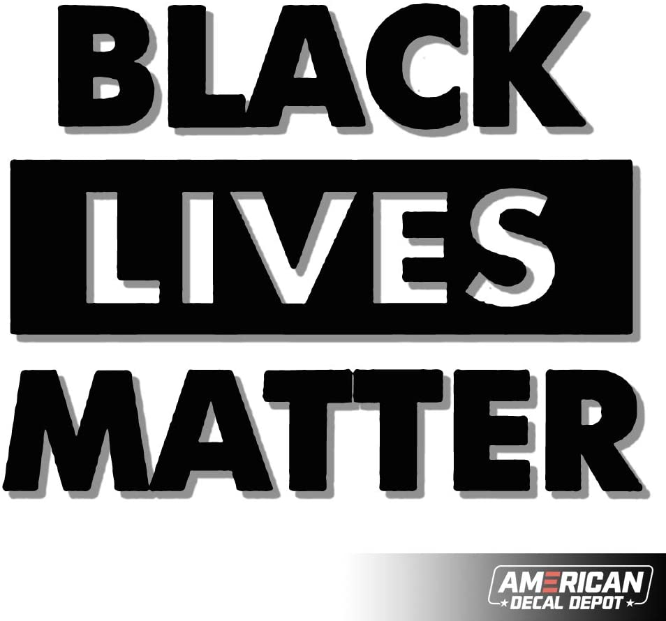 American Decal Depot | Black Lives Matter White Decal Vinyl Sticker | Cars Trucks Vans Walls Laptop| White | Free Tools