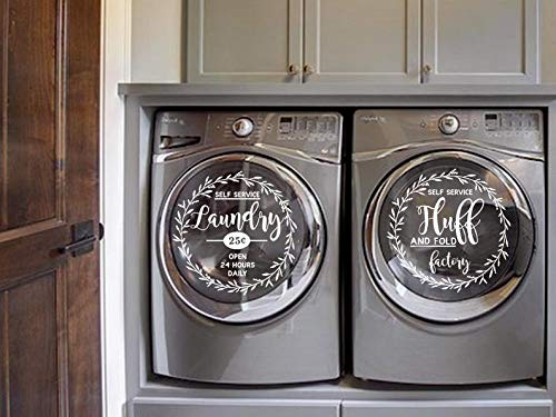 Self Service Laundry and Fluff Decal, Washer and Dryer Decal, Vinyl Decal, Removable, Laundry Room Decor