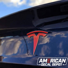 Load image into Gallery viewer, American Decal Depot | Tesla Model 3 Exterior Logo Decal Bundle (Gloss Red) | Free Tools