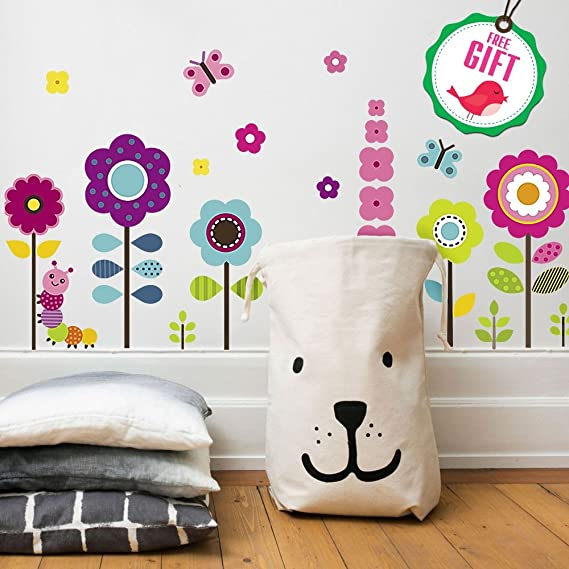 Flower Wall Sticker Decal for Kids | Childrens Nursey Baby Toddler Boys Girls Wall Decor Design | Bedroom Vinyl Graphic Decal Sticker