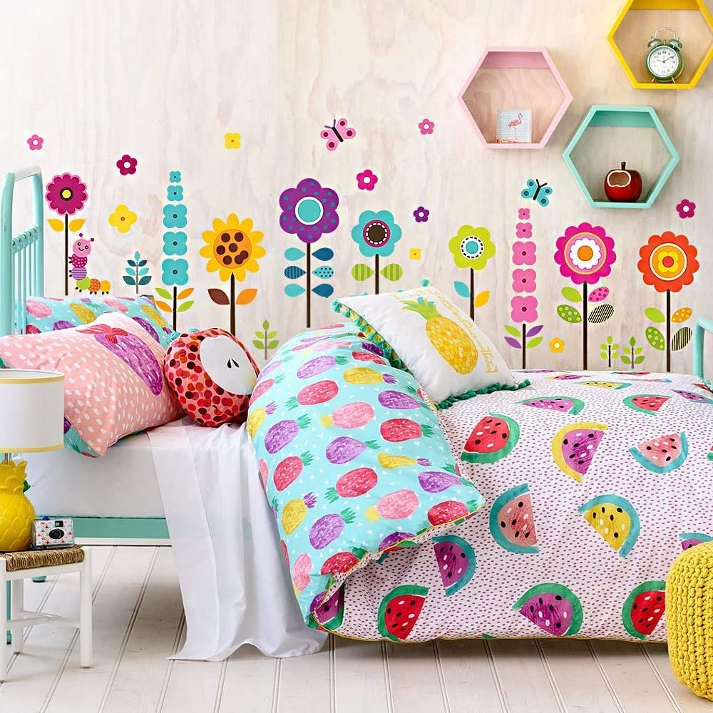 American Decal Depot | Flower Wall Stickers for Kids | Floral Garden Wall Decals for Girls Room | Removable Toddlers Bedroom Vinyl Nursery Wall Décor