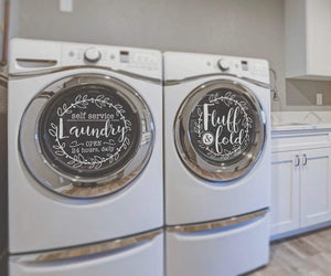 American Decal Depot | Self Service Laundry and Fluff Decal, Washer and Dryer Decal, Vinyl Decal, Removable, Laundry Room Decor