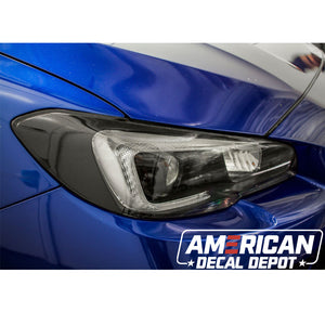 Headlight Amber Delete With Eyelid Vinyl Overlay - Gloss Black | 2015-2017 WRX/STI | 2018-2020 WRX/WRX