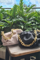 RUCHED CHAIN POUCH BAG BLACK