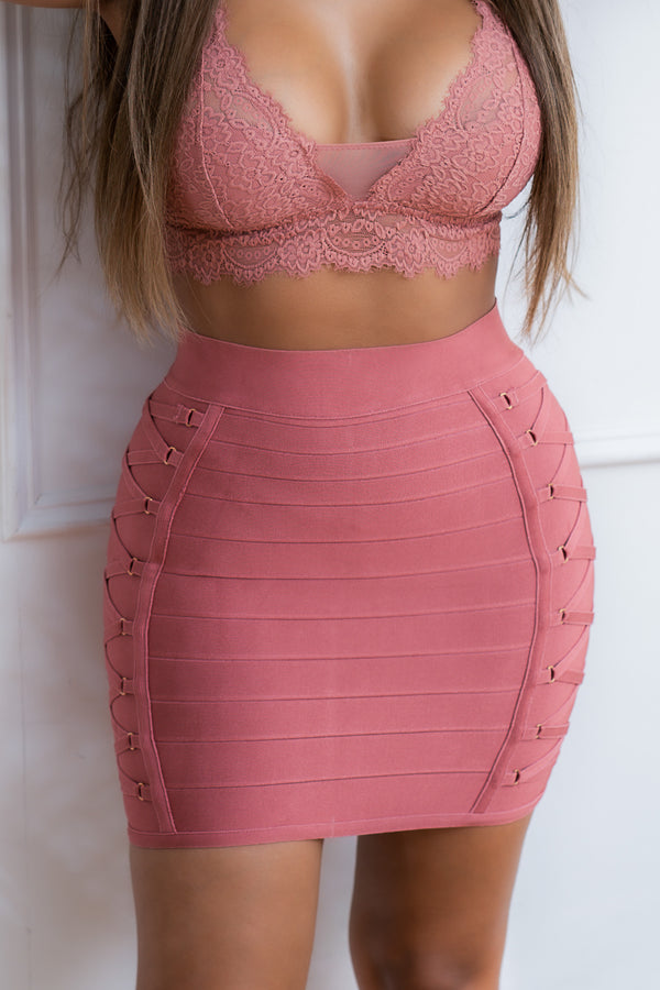 ELIZABETH BANDAGE SKIRT DUSTY PINK