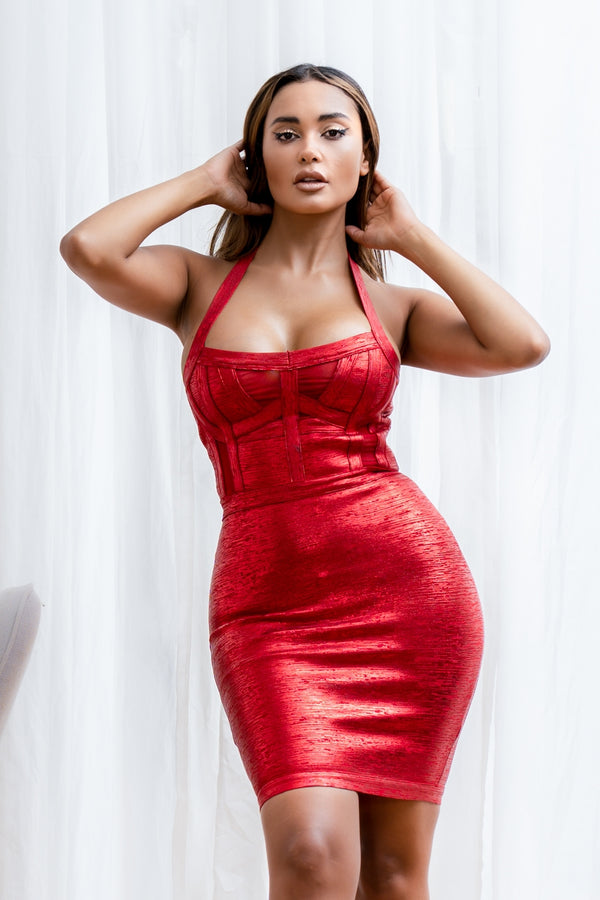 AVA BANDAGE DRESS RED