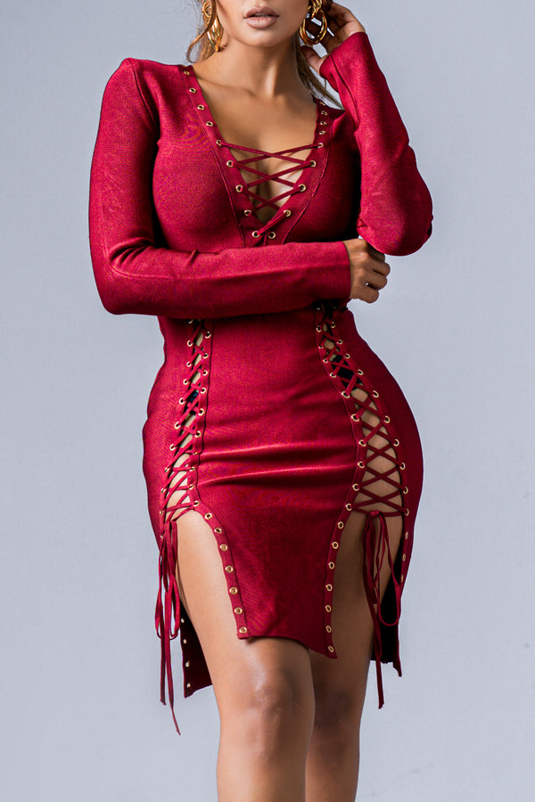 ELIZABETH BANDAGE DRESS WINE