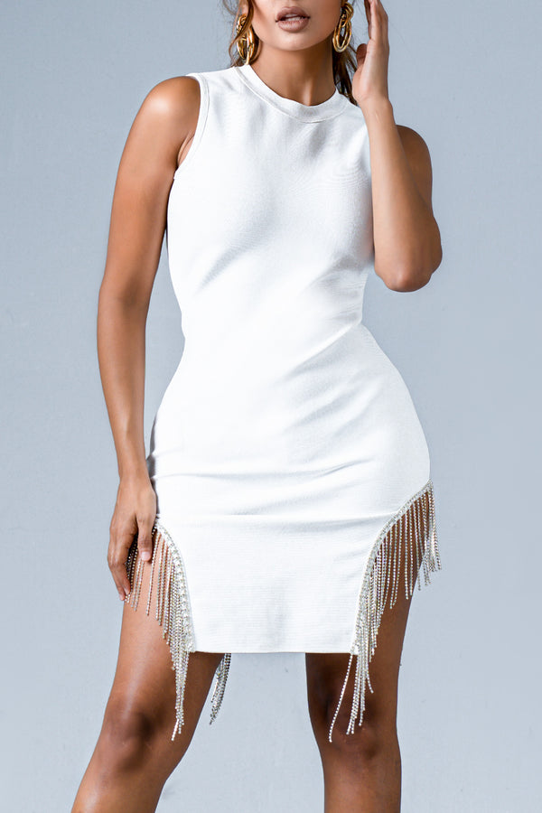 ABIGAIL BANDAGE DRESS WHITE