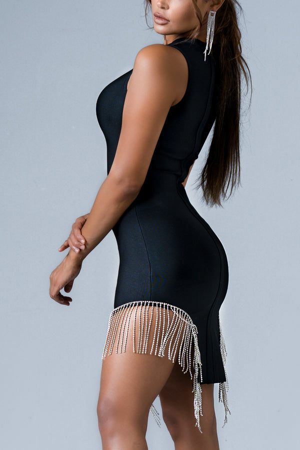 ABIGAIL BANDAGE DRESS BLACK