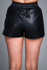 RILEY VEGAN LEATHER SHORT BLACK