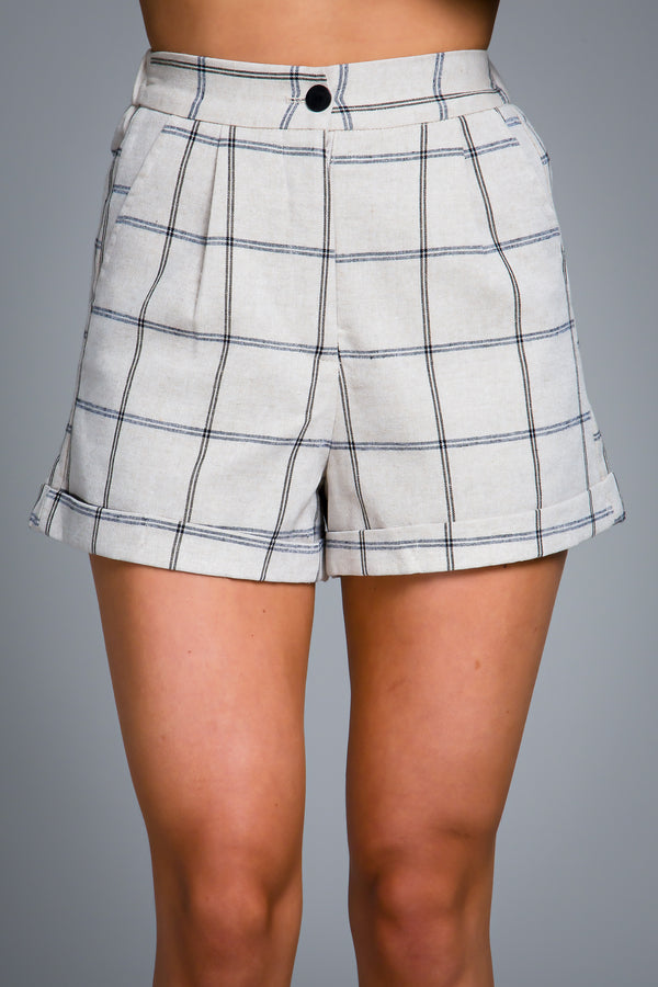 LAYLA TAILORED SHORTS GREY CHECK