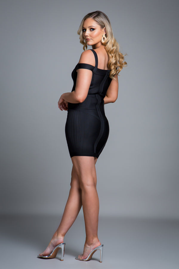 EMMA BANDAGE DRESS BLACK