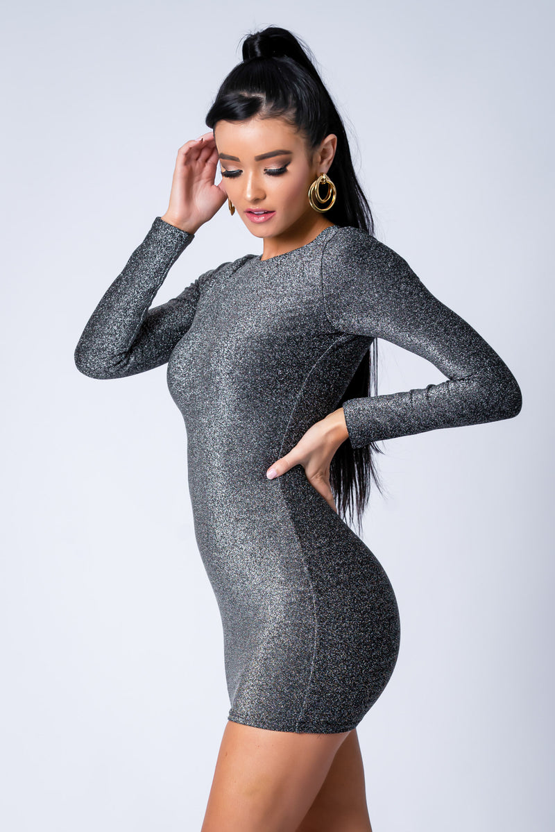 FRESSIA DRESS BLACK SILVER