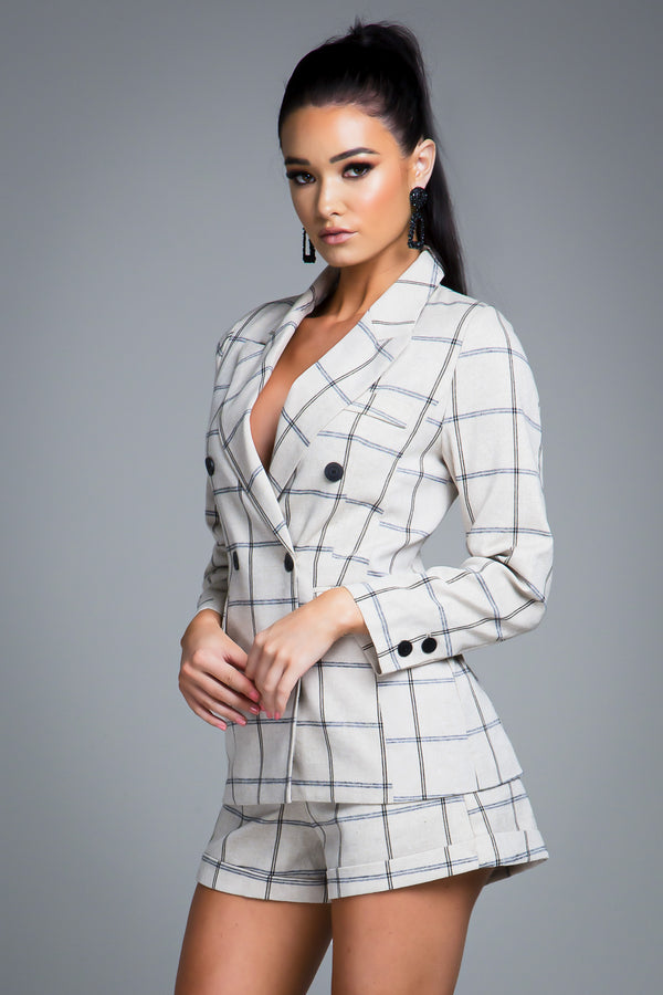 LAYLA BLAZER JACKET GREY CHECK