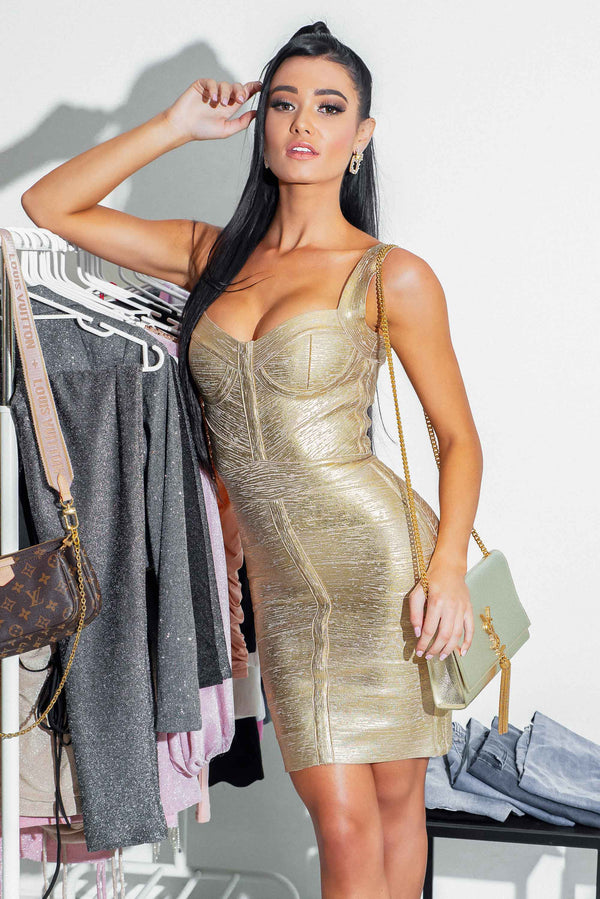 OLIVIA BANDAGE DRESS GOLD