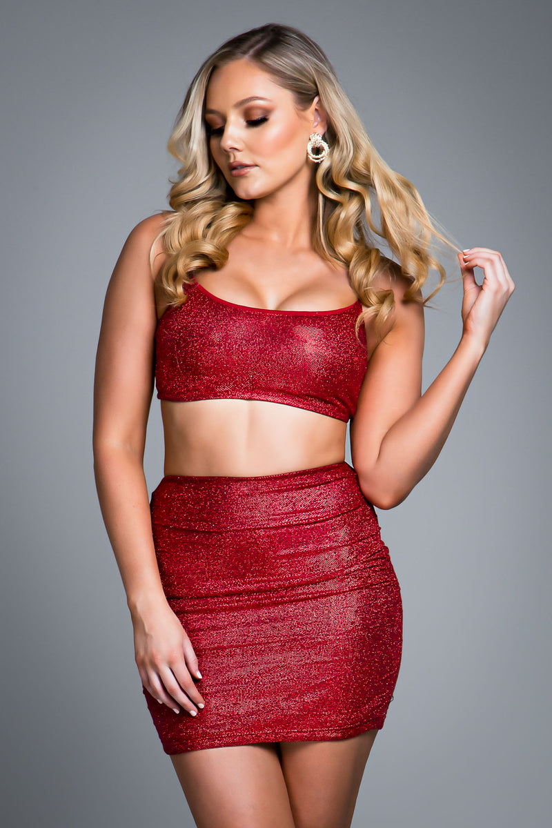 GRACE SKIRT RED SPARKLE