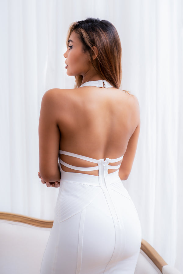 EVELYN BANDAGE DRESS WHITE