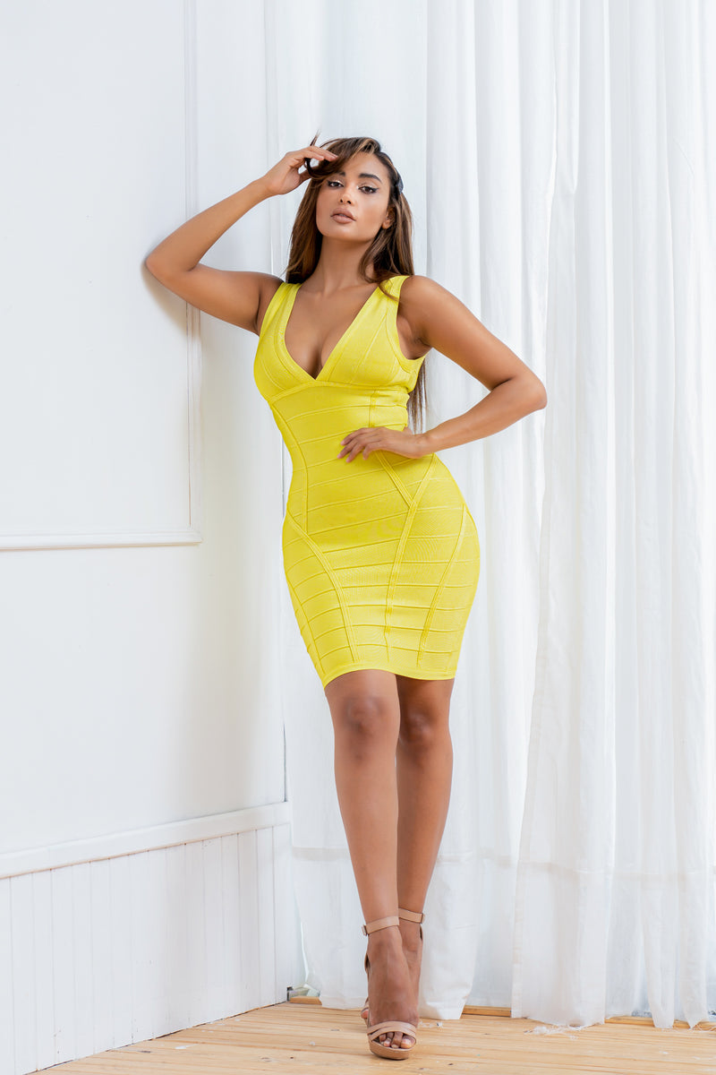 CHARLOTTE BANDAGE DRESS YELLOW
