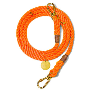Rescue Orange Rope Dog Leash, Adjustable