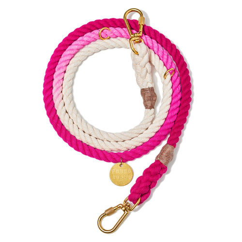 Magenta Ombre Cotton Rope Dog Leash, Adjustable