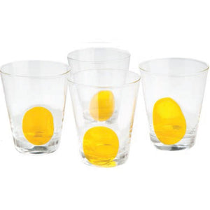 Clear Glass w/Yellow Dot, Set of 4