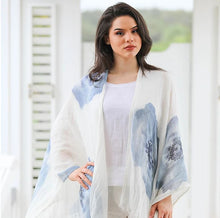 Load image into Gallery viewer, Linen Lightweight Blue Flower Shawl
